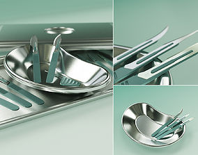 Scalpels Kidney Dish and Sterilization Tray model rigged