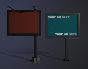 Billboards collection 3D asset low-poly