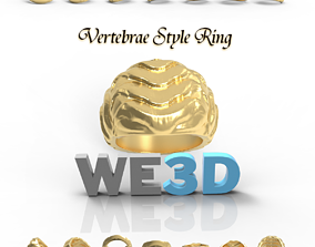 Gold Ring - Vertebrae Style - 3D Printable Gold Cast