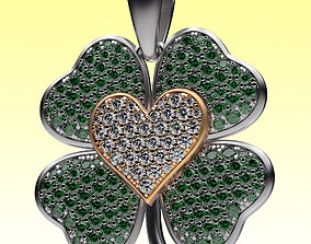 3D print model heart-shape Pendant Clover and Heart