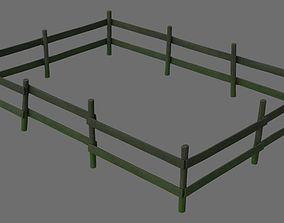 3D model Wooden Fence 1B