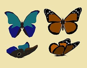 3D asset PACK 011 Monarch Butterflys orange and blue