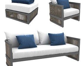 Restoration Hardware Capri lounge chair sofa ottoman 3D