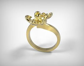 Jewelry Golden Ring Two Flowers Top 3D printable model