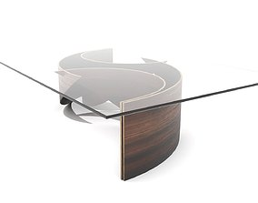 Curved Waves Wood and Glass Coffee Table 3D model