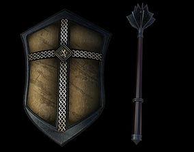 Gladiator shield and mace 3D