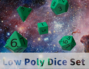 3D asset low-poly Teal Plastic Dice Set