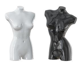 Black and white female mannequin 08 3D