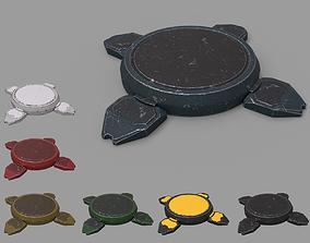 3D asset Landmine futuristic - lowpoly - PBR - 7 color
