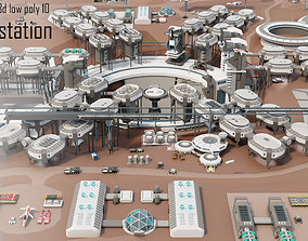 realtime Tile pack city 3d low poly 10 space station