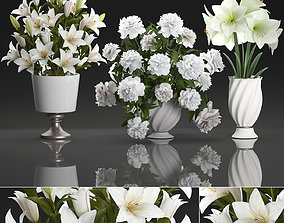 Bouquet of white flowers in a vase for decoration 109 3D