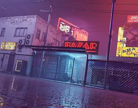 3D model Cyberpunk Bazaar Scene