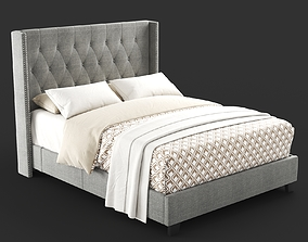 3D model Diamond Tufted Wingback Bed in Grey