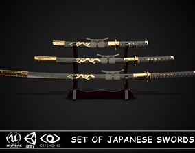 Set of japanese swords 05 3D model