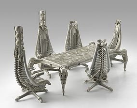 Harkonnen Table and Chairs gothic 3D model