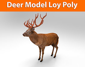 realtime Red Game ready low poly deer model