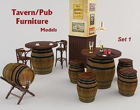 3D asset Tavern Furniture 1