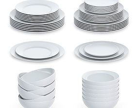 Set of round plates 3D