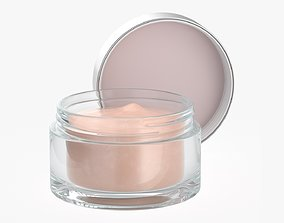 3D model Cosmetics glass jar face hand care cream