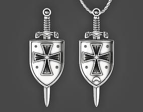3D printable model Crusader shield and sword pendant