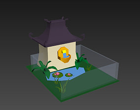 Low poly japanese garden cage 3D asset