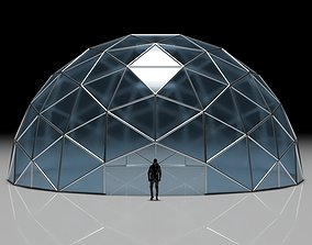Geodesic Dome with Door Opening and Glass Panels 3D model