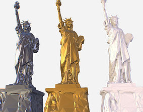 3D asset Low Poly Art Statue of Liberty Material