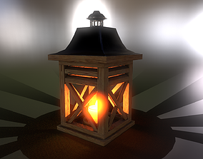 3D model Burning candle in a wooden lantern