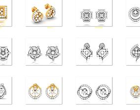 45 Tops Earrings 3dm render details bulk