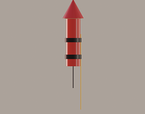 Firework Rocket 3D model realtime