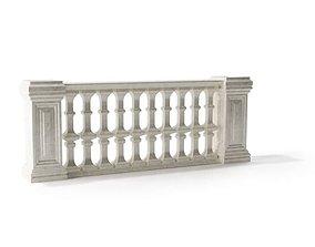 White baroque railing 120 am79 3D