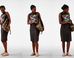 Caroline 03 Woman standing casual oufit with bag over 3D