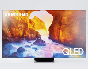 3D model Samsung TV Q90 Set - Television - Remote - Box