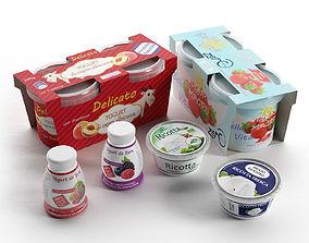 3D model Ricotta Cheese and Yogurts