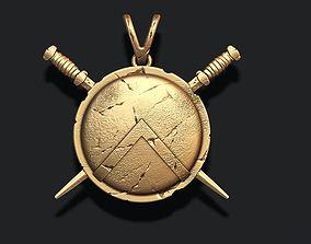 3D printable model Spartan Shield Sword pendant