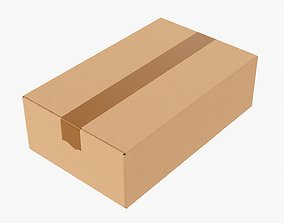 Box sealed with packing tape mockup 06 3D