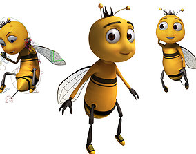 Bee Cartoon Rigged model 3D