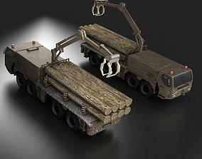Pull Wood container truck Grab Handcart 3D model