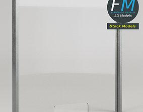 Plexiglass sneeze guard panel 3D