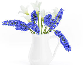3D Blue and White Flowers in White Pot