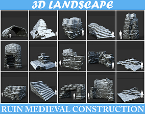 3D Low poly Snow Ruin Medieval Construction Pack 190827