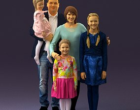 3D Family man woman girl teen child kid girl 0926