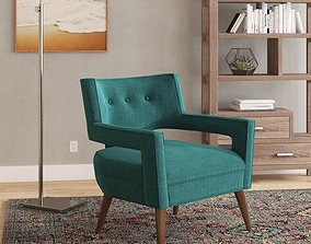 Wide Tufted Armchair 3D model