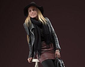 00039Esmay004 Sitting Blonde Woman Pre Posed 3D Model
