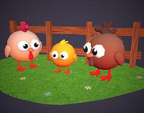 Cartoon Chicken Family 3D asset