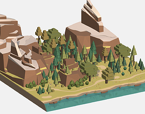 Isometric style summer big mountain landscape 3D asset