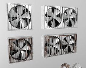 3D model industrial wall fans