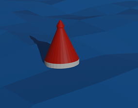 3D model Buoy red and white in sea low poly