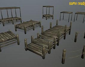 3D model Wooden Pier Set