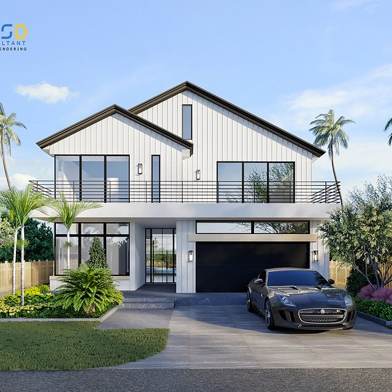 Residential 3D Home Renderings with Landscape Design in Fort Lauderdale Florida